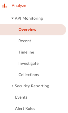 API Monitoring submen