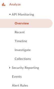 API Monitoring サブメニュー