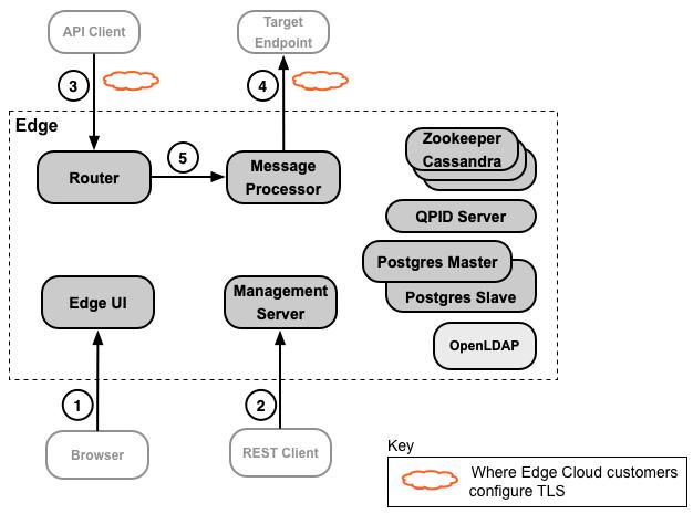 Edge インストール環境の中で TLS を構成できる場所