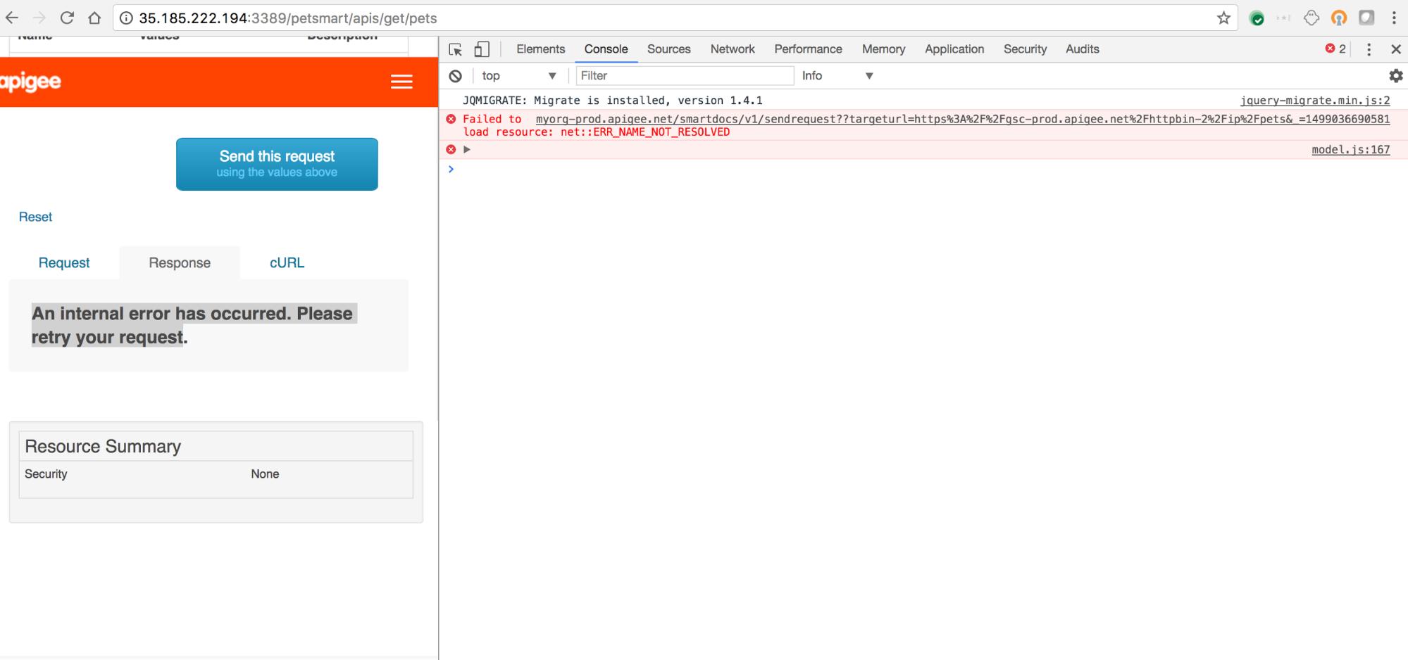 Developer Portal Internal Error | Apigee Docs