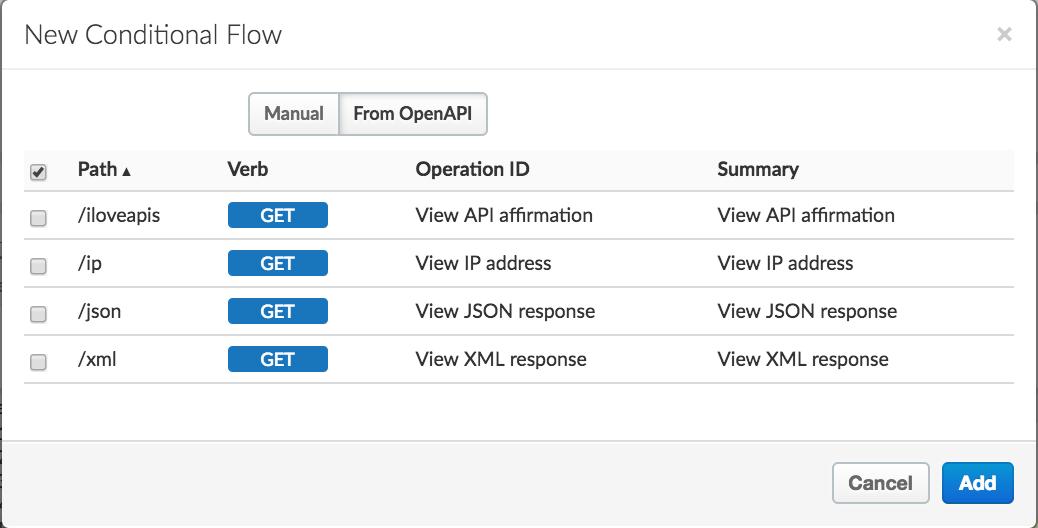 現在の API プロキシでフローとして表されないリソース。この例には /loveapis、/ip、/json、/xml が含まれています。