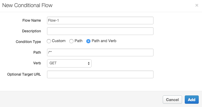 In the New Conditional Flow pane, the flow is named Flow-1, and the condition type,     path, and verb are configured.
