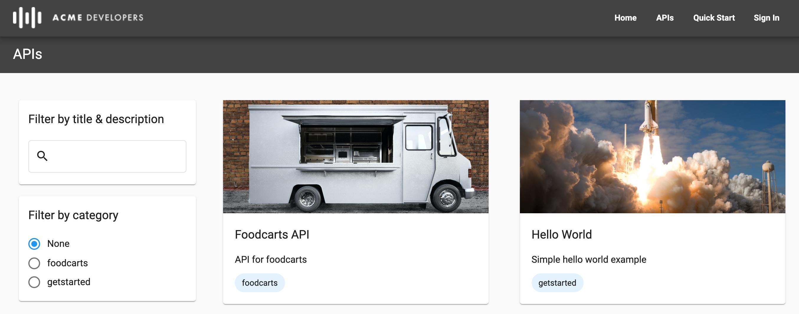 APIs page