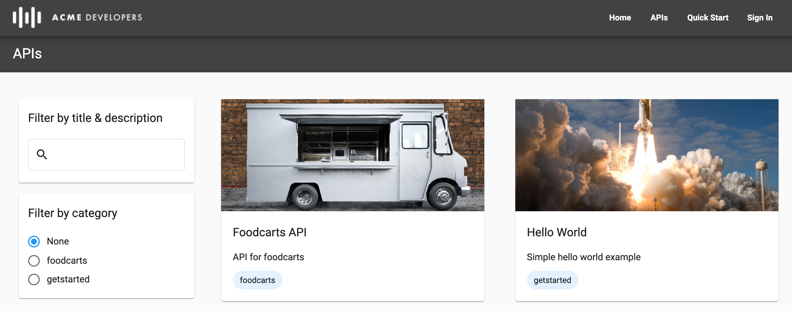 APIs page in live portal showing two categories and use of images