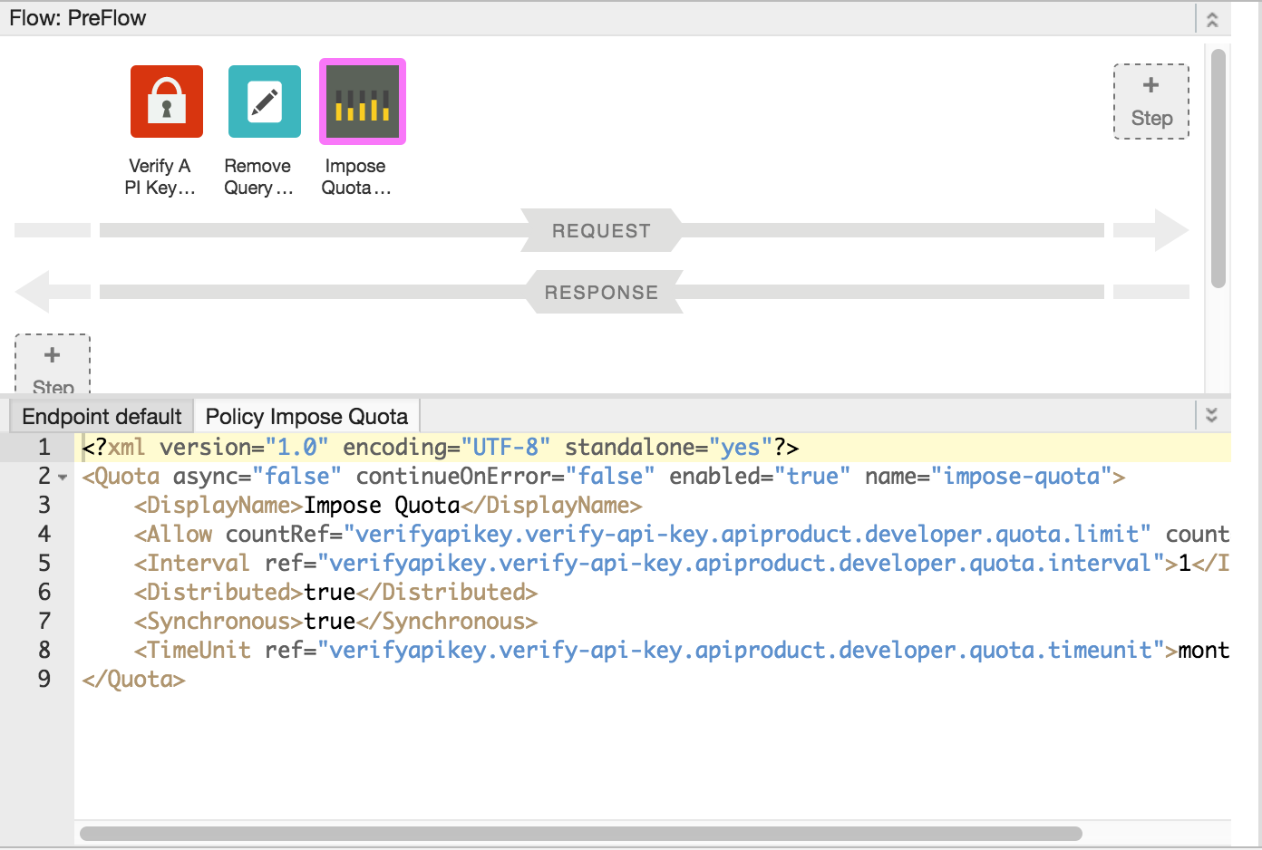 Policies in the PreFlow in the Designer and Code view