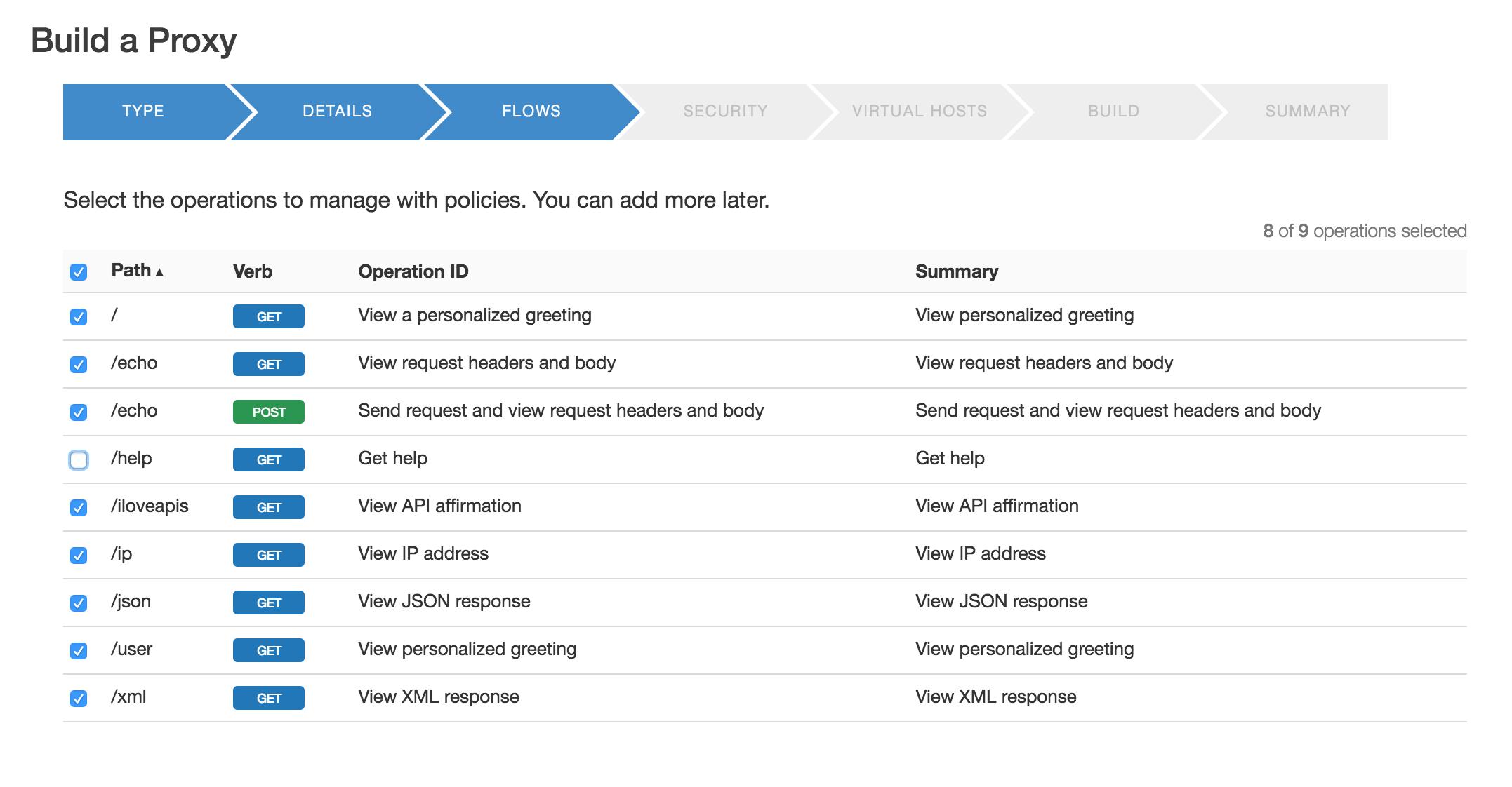 Mock Target API の各オペレーションのパス、動詞、オペレーション ID、要約が表示された [Build a Proxy] の [Flows] ページ。/help 以外のすべてが選択されています。