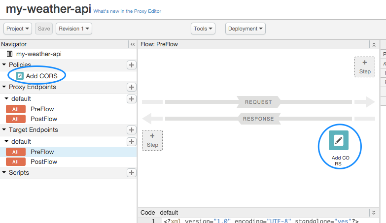 Add CORS policy added to navigator under Policies and attached to TargetEndpoint response preflow in right pan