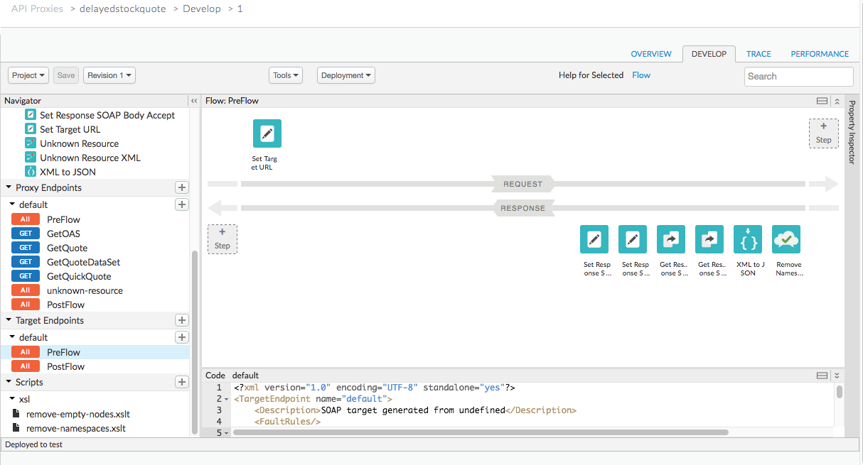 In the Develop view, in the Flow panel, arrows depict the flow from request to     response, and icons depict policies.