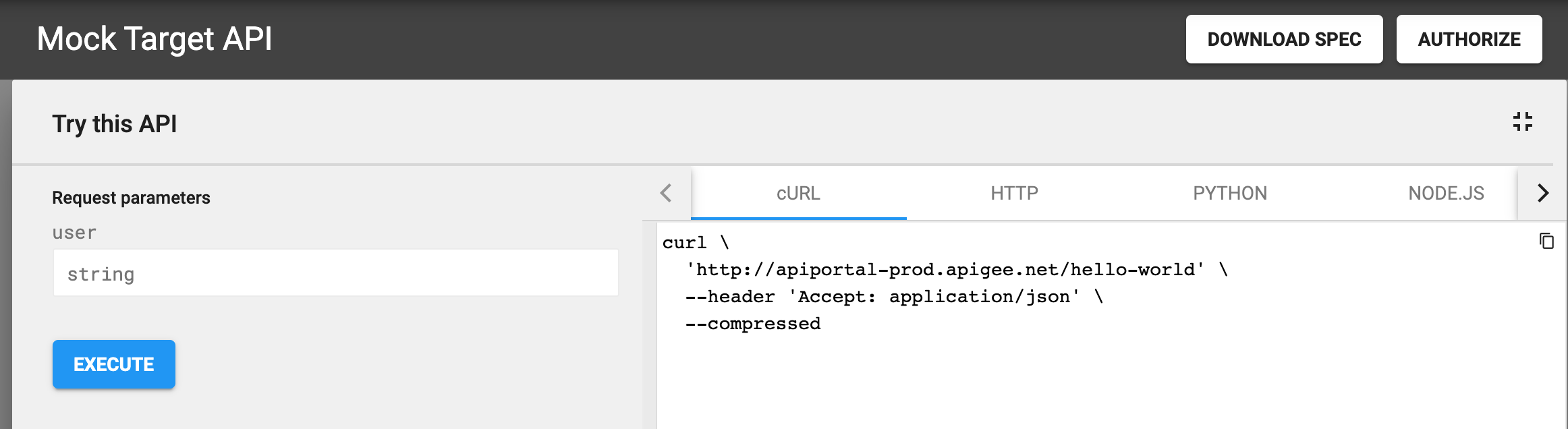 Expanded Try this API panel