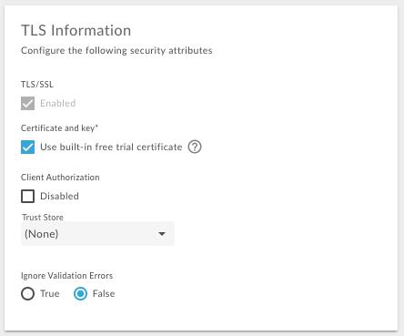 [Use built-in free trial certificate] を選択