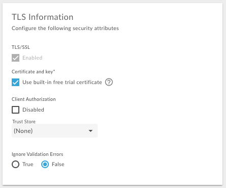 Select Use built-in free trial certificate