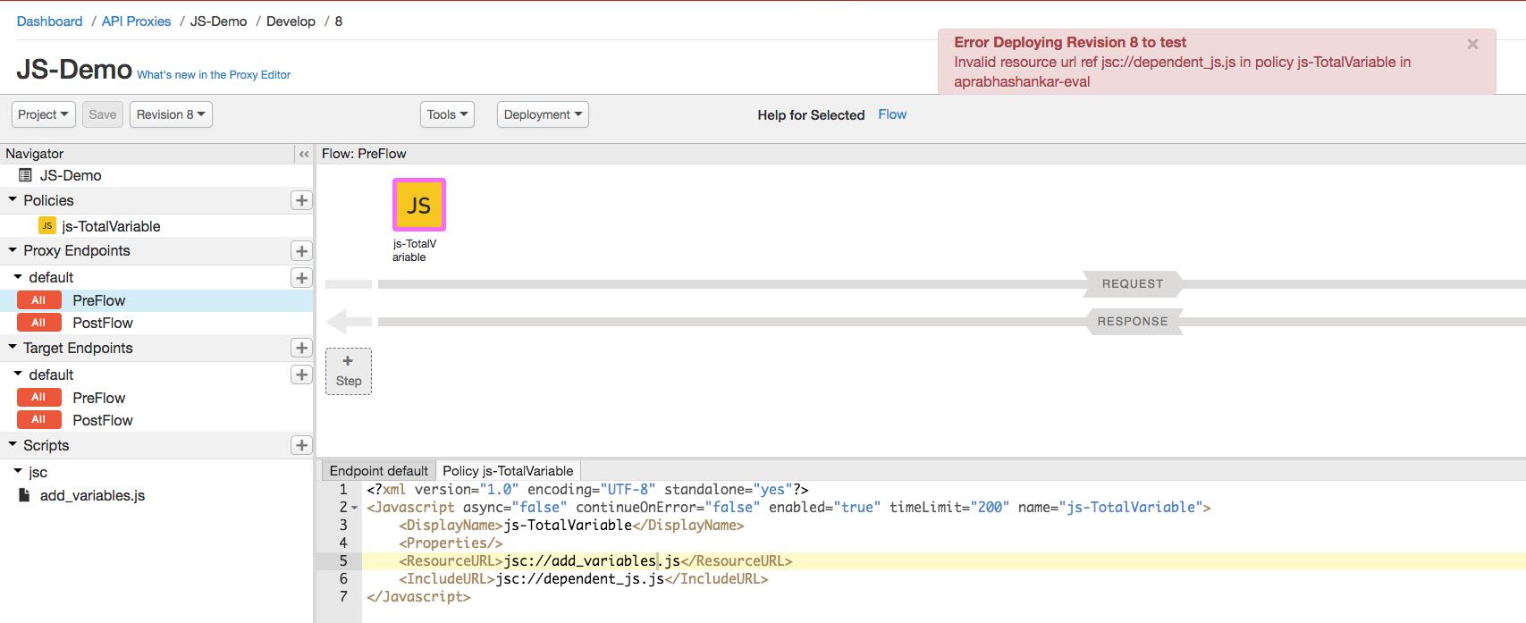 JavaScript policy deployment error troubleshooting | Apigee Docs