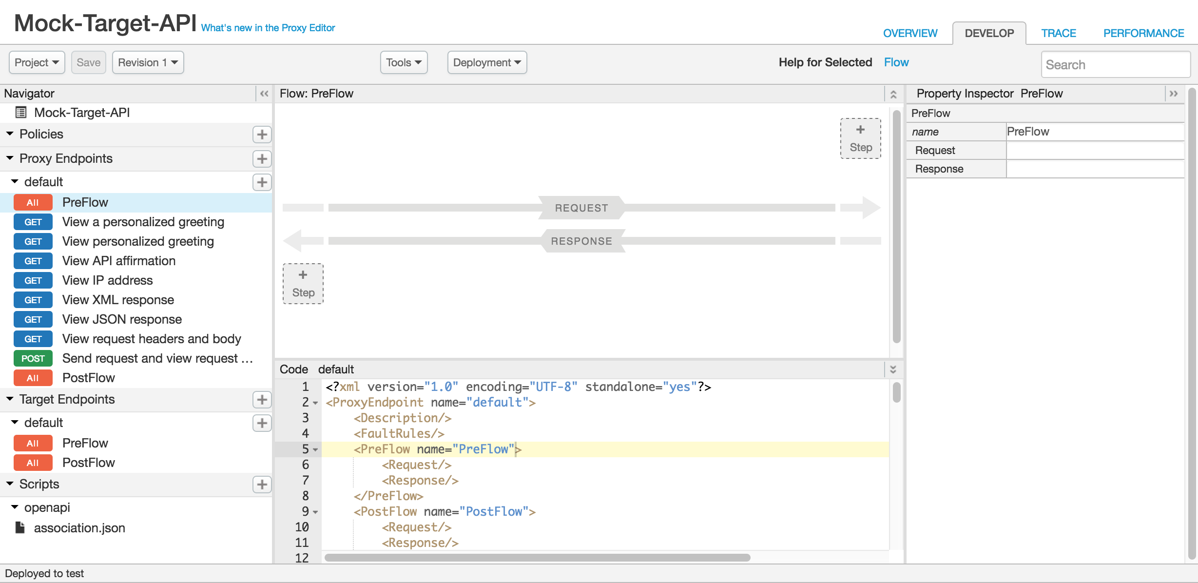 Develop view in the Edge UI for the Mock-Target-API proxy.