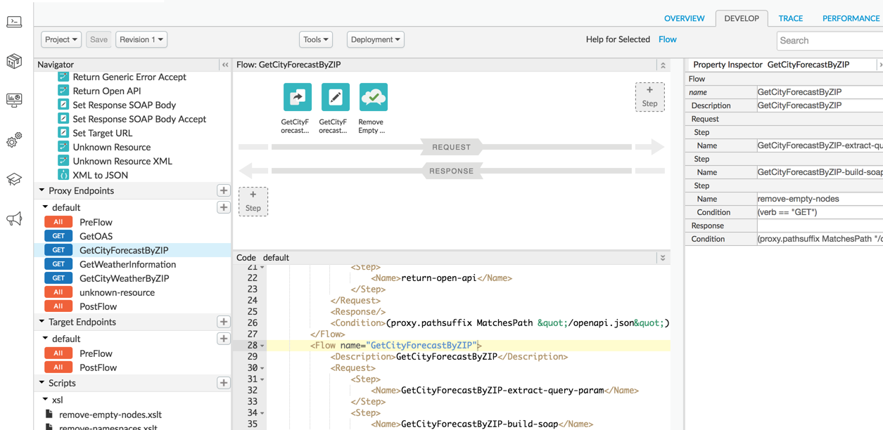 Shows the Develop tab selected in the API proxy editor in the Edge UI.