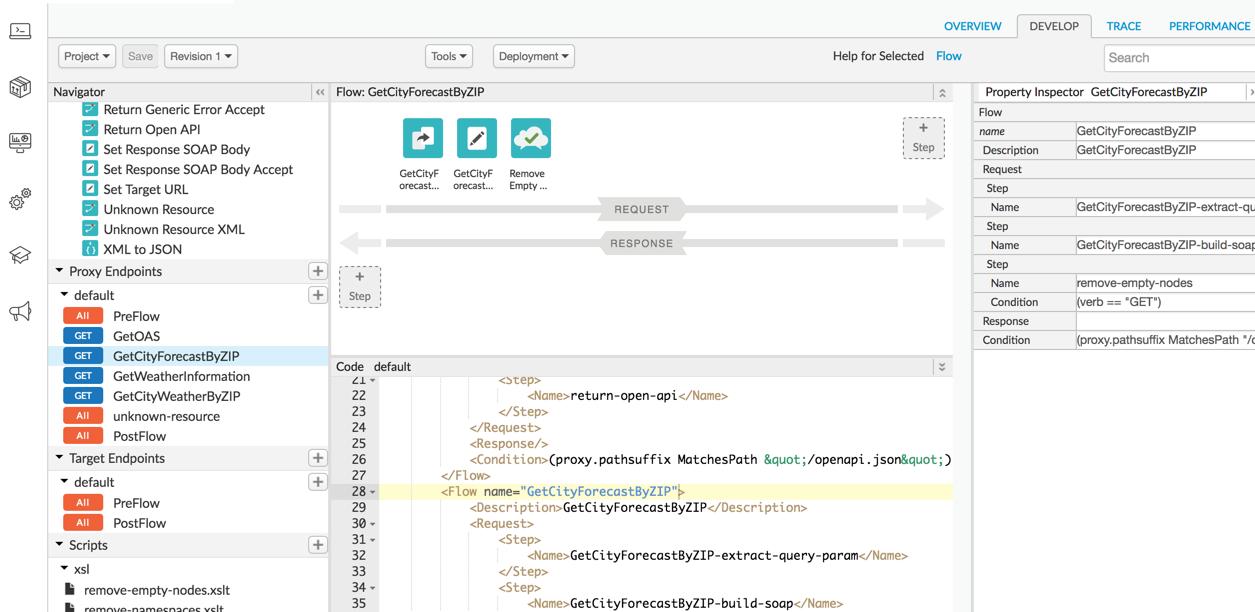 Edge UI の API プロキシ エディタで [Develop] タブが選択されています。
