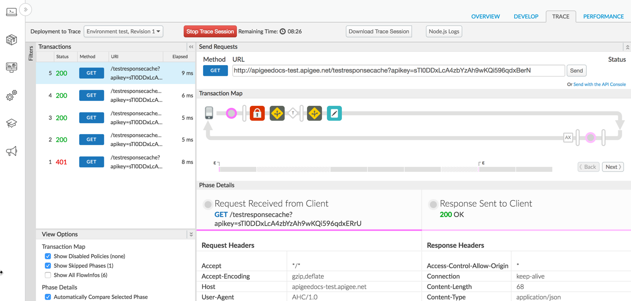 Shows the Trace tab selected in the API proxy editor in the Edge UI.
