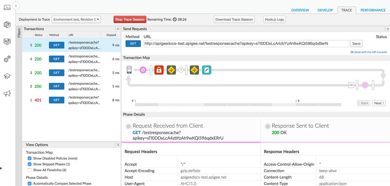 Edge UI の API プロキシ エディタで [Trace] タブが選択されています。