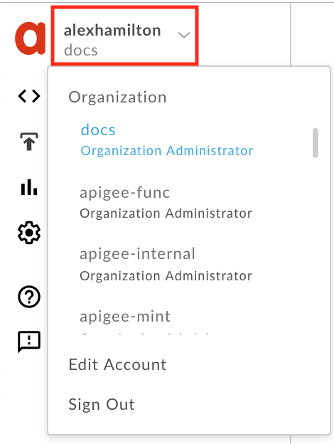 select org in user profile menu
