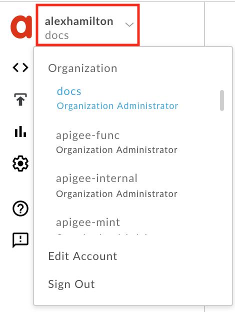 select org in user profile menu