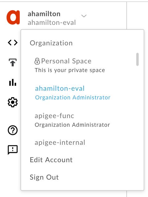 User profile menu