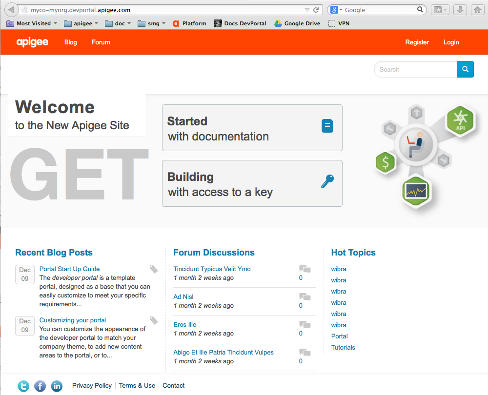 The default drupal-based portal with links to getting started topics, forum     discussions, and hot topics.