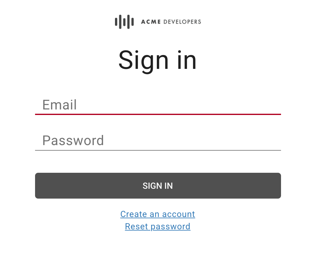 Sign in page