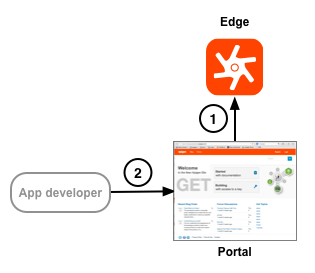 The portal uses TLS to handle requests from the app developer and to make requests to Edge