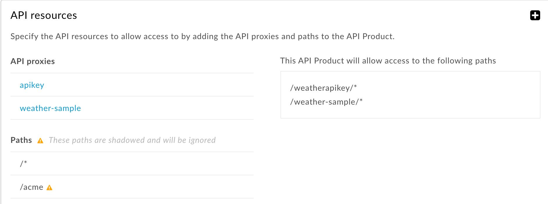 すべての API プロキシに適用されるリソースパスとより具体的なリソースパスは無視されます。