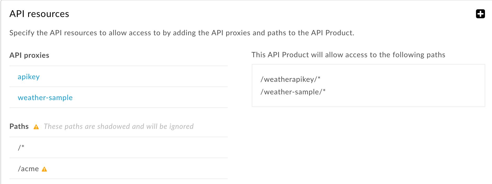 Resource path applied to all API proxies and more specific resource path is ignored