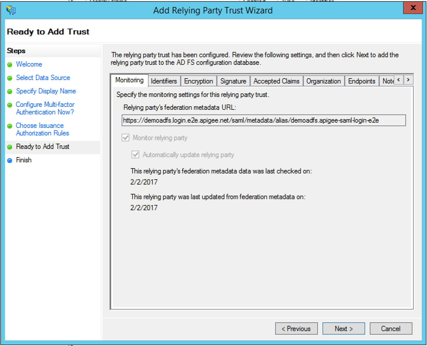 Configuring Edge as a Relying Party in ADFS IDP | Apigee Docs