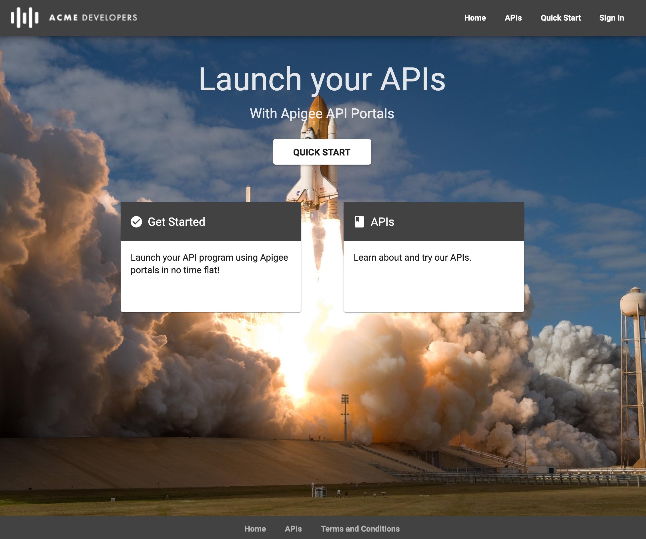 「Quick Start」、「Get Started」、「APIs」というラベルが付いたリンクがあるデフォルトの統合ポータルページ。