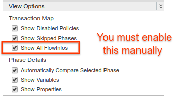 Select View Options to display a list of checkboxes that you use to enable         or disable various settings. Enable the third option underneath         Transaction Map, 'Show All FlowInfos', by checking the box next to it.