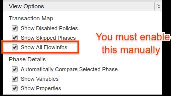 各種の設定を有効または無効にするために使用するチェックボックスのリストを表示するには、[View Options] を選択します。[Transaction Map] の下にある 3 番目のオプション [Show All FlowInfos] をその隣にあるチェックボックスをオンにして有効にします。
