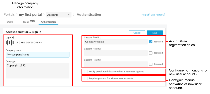 Account creation & sign in settings