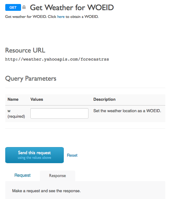SmartDocs API メソッドのトピック。トピック内のボタンをクリックすると Weather API を呼び出すことができます。