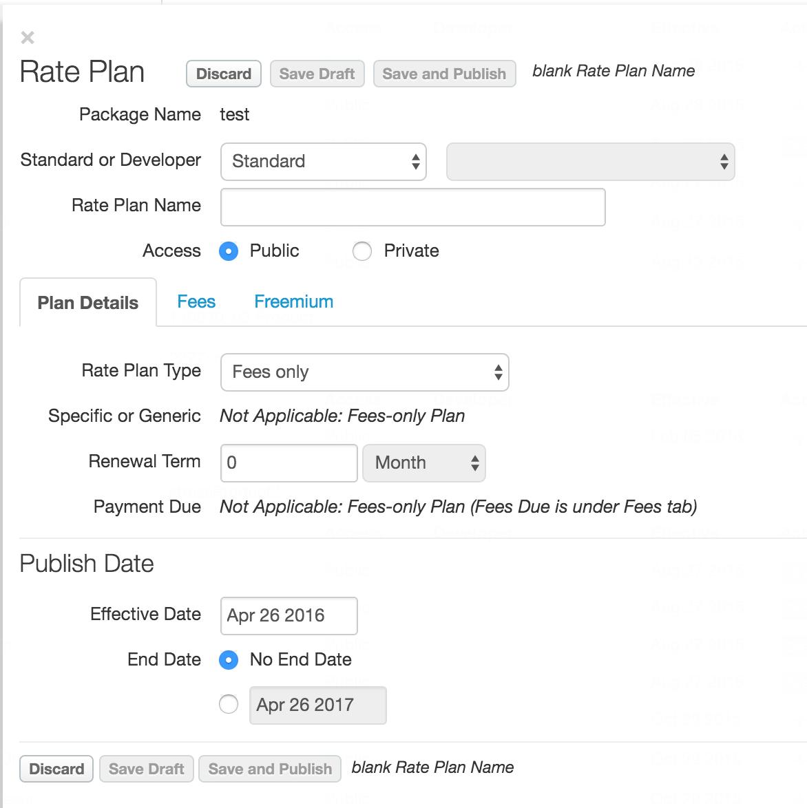 Rate plan dialog