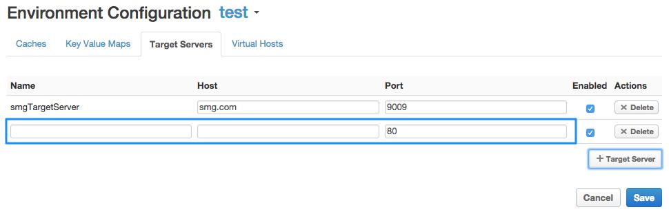 UI で、ターゲット サーバーの名前、ホスト、ポート、有効なプロパティを指定します。