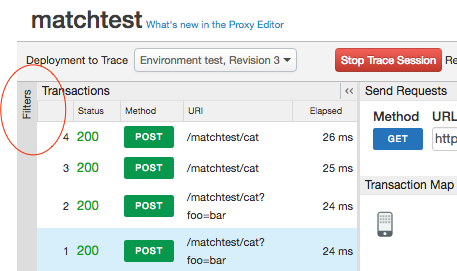 In the Trace tool, the Filters sidebar label is circled.