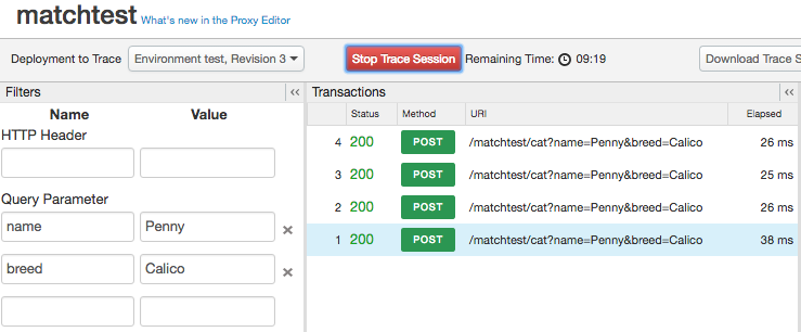Under Transactions, four results show up that match two preset query parameters.