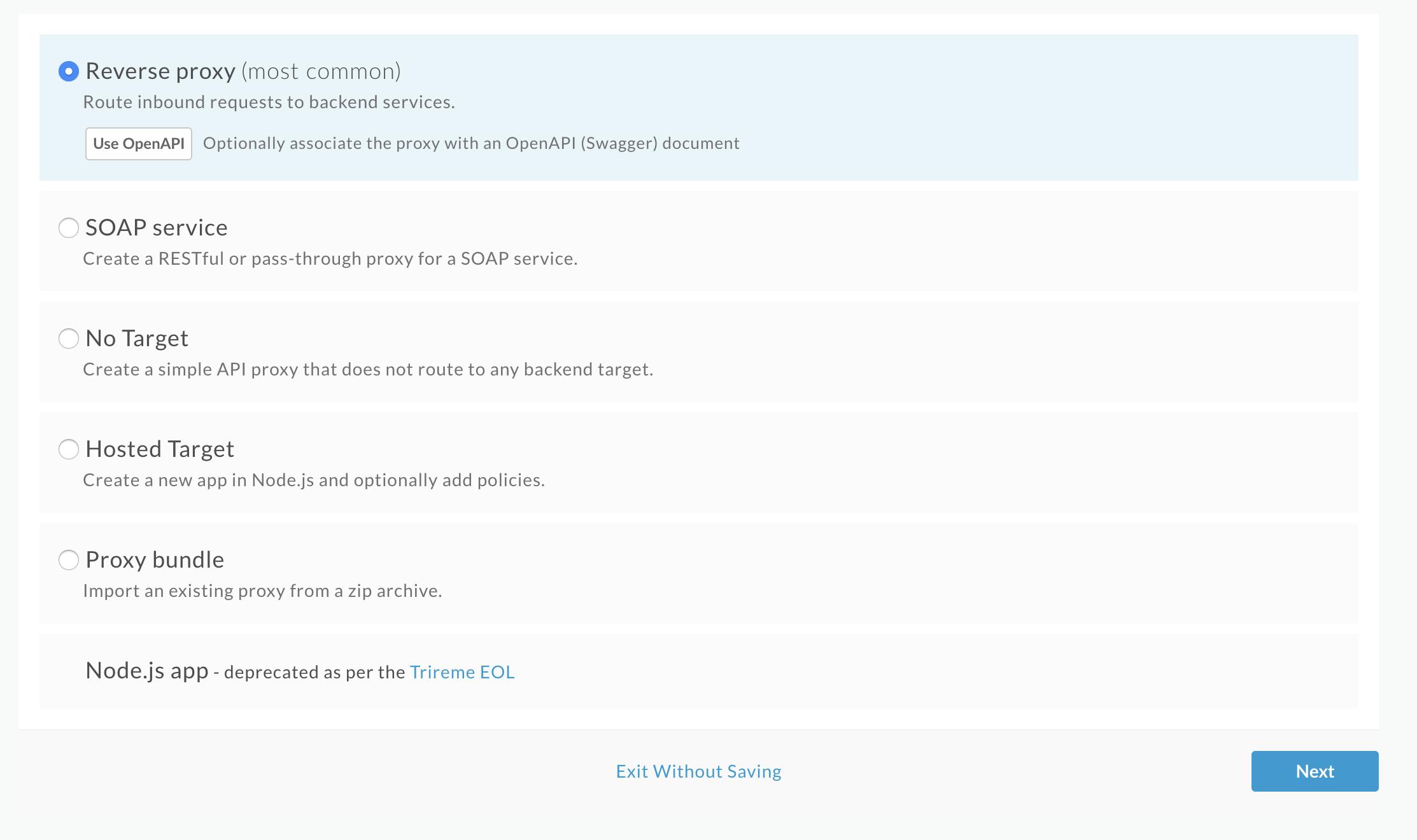 [Create Proxy] ウィザードの最初のページ。[Reverse proxy]、[SOAP service]、[No Target]、または [Proxy bundle] を選択します。選択した項目により、ウィザード フローが変わります。