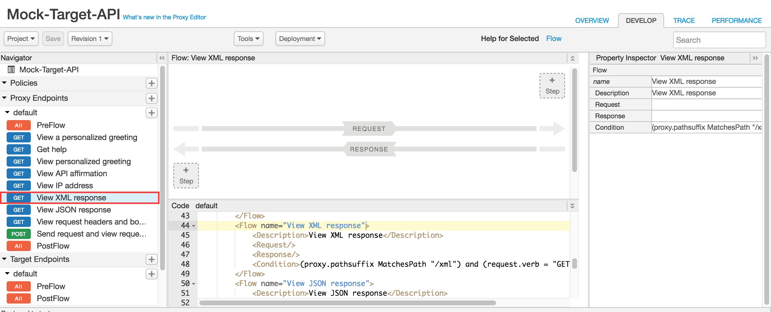 [View XML Response] の選択