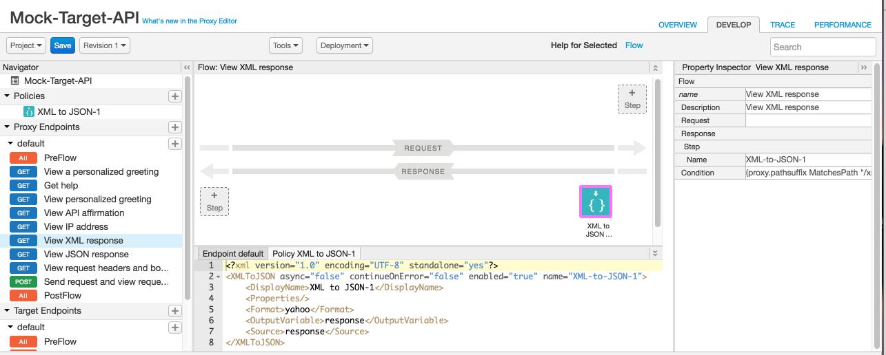 フローの XML to JSON ポリシー
