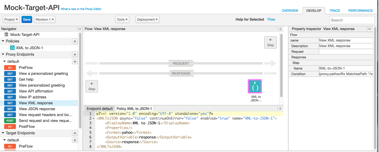 XML to JSON policy in flow