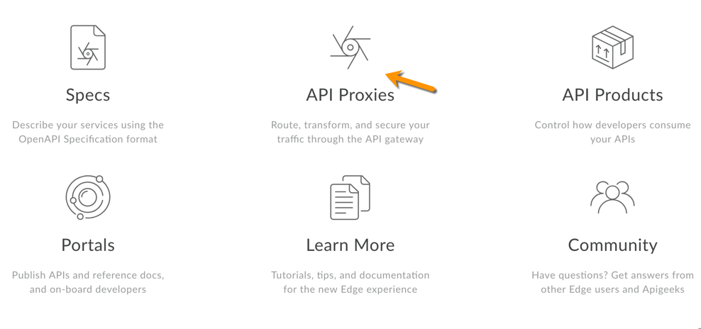 Click API Proxies on landing page