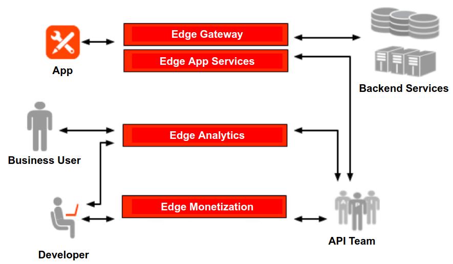 Edge モジュールは、さまざまなサービスや組織内のチームを結び付けます。たとえば、Edge Analytics はビジネス ユーザーをバックエンド サービスと API チームに結び付けます。Edge Monetization はデベロッパーを API チームに結び付けます。アプリは Edge Gateway と Edge App Services によってバックエンド サービスと API チームに結び付けられます。これらすべてのサービスとチームはなんらかの形で相互に結び付けられます。